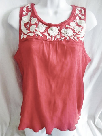 WOMENS LUCKY BRAND Bird Cotton Peasant Shirt Tank Top L RED Crewel Embroidered Hippie Festival