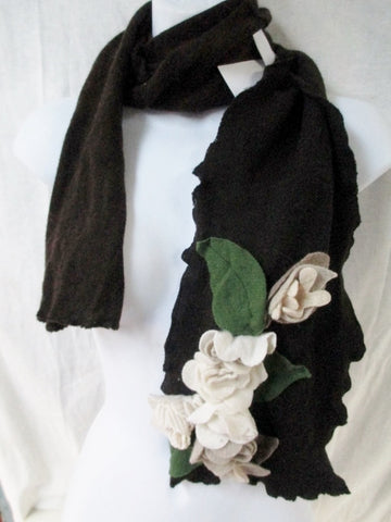 NEW NWT Look at Me Designs Floral Handmade SCARF Boa Neck Warmer BROWN  Eco-Friendly