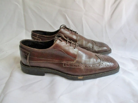 Mens JOHNSTON & MURPHY Leather OXFORD Loafer Shoe 9 BROWN Brogue