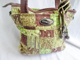 DONNA SHARP PATCHWORK Quilted BAG Tote Satchel GREEN BROWN BEIGE Vegan