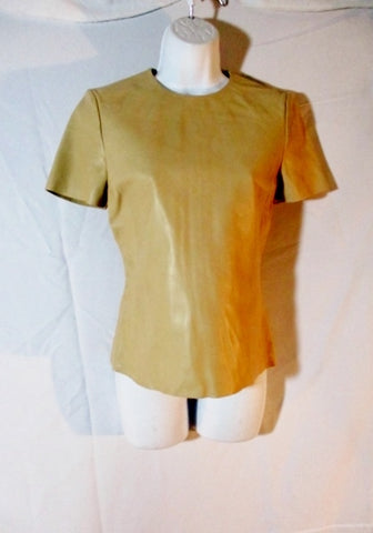 NWT New CELINE ITALY LAMBSKIN LEATHER Top Shirt 38 BEIGE Short Sleeve Womens
