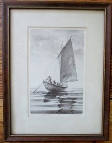 "Vintage 1975 Signed 10X13"" WHALE BOAT Art Print Nautical Fishing Sailor FRAMED"