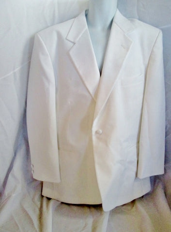 Vintage 1980s AFTER SIX Tuxedo Sport Jacket Suit Blazer 43R XL WHITE Formal