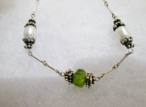 "15"" Handmade STONE Bead Necklace Choker Collar Delicate Statement GREEN PEARL SILVER"