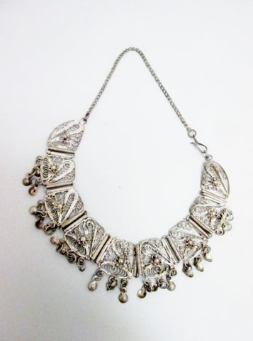 "12.5"" Filigree Dangle Runway Ethnic NECKLACE Choker TRIBAL Bib CLEOPATRA Silver"
