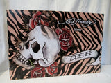 Womens ED HARDY BOOT STRAPS Suede EAGLE ROSE LION 6 BLACK TATTOO ART