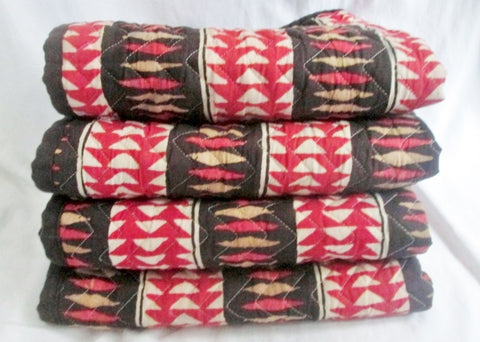 Set Lot 4 RALPH LAUREN Pillow Case Pillowcase Sham Cover Ethnic Tribal RED BLACK 24X20""