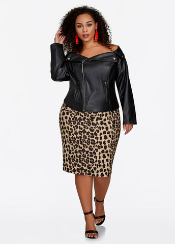 Womens ASHLEY STEWART LEOPARD PRINT PENCIL SKIRT 16 Plus Size JAGUAR CHEETAH ANIMAL