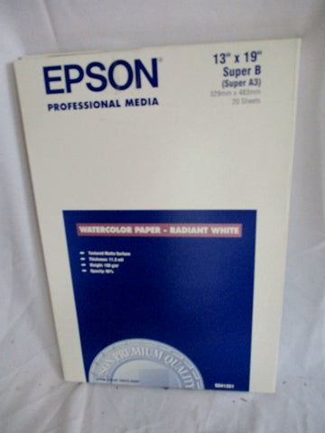 "NEW Epson WATERCOLOR PAPER - RADIANT WHITE 13"" x 19"" Super B A3 40 sheets"