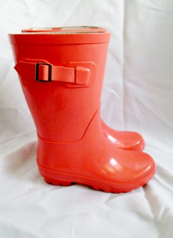 Preschool Girls TALL KIDS Wellies Rain Boots PEACH PINK 13 / 1 Gumboots