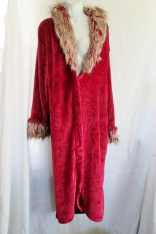 Womens ADRIENNE LANDAU Plush LOUNGE Bathrobe Coverup M/L FAUX FUR RED Fleece Bath Robe