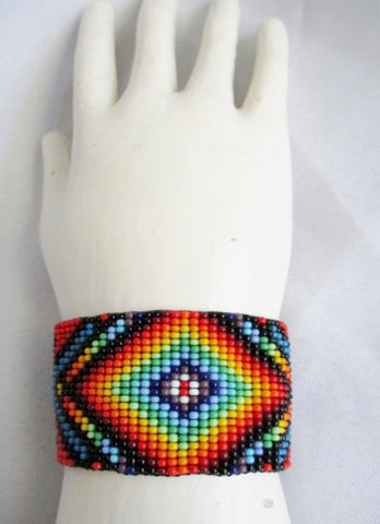 ZULU AFRICA Bead BRACELET Tribal Ethnic Cuff Shackle Boho Gypsy Hippy
