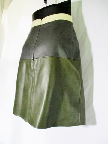 NWT New CELINE LAMBSKIN LEATHER Mini Short SKIRT 38 6 GRAY GREEN OLIVE Womens