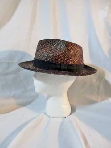GENUINE PANAMA ENGLAND Natural STRAW Sun Hat Brim 7 1/8 BLACK Fedora Woven