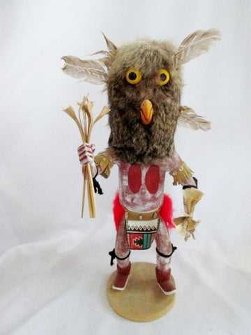 "Handmade 16"" KACHINA DOLL NATIVE AMERICAN Indian Fur OWL BIRD Feather Shell"