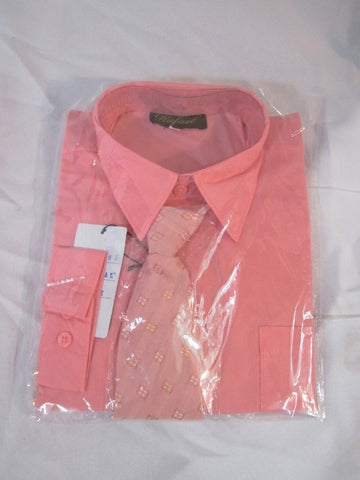 NEW BOYS RAFAEL Dress Shirt Tie Set 12 CORAL PINK Recital Party Wedding