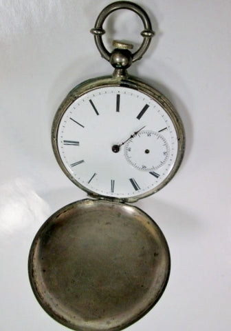 "Vintage Antique 2"" Old POCKET WATCH Locket Numbered SILVER Hand Painted ESTATE"
