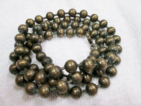 "40"" BRASS BEAD CYBERPUNK INDUSTRIAL Beaded Necklace Statement Strand ROUND"