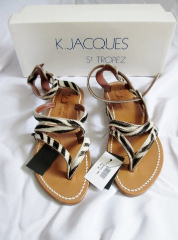 NEW Womens K. JACQUES ST TROPEZ SANDAL SHOE ZEBRA LEATHER 36 5.5 Thong