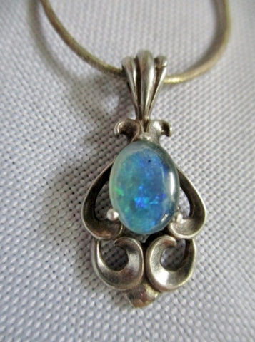 "15"" STERLING SILVER OPAL Renaissance Victorian NECKLACE HONOR  Pendant"