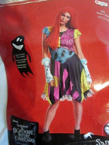Adult Womens NIGHTMARE BEFORE CHRISTMAS SALLY Rag Doll Halloween Costume Disguise L 12-14