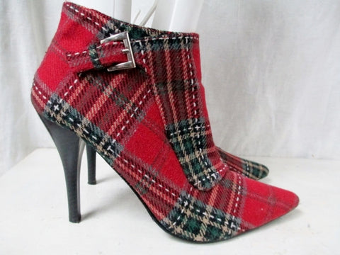 "Womens ANNE MICHELLE High Heel Ankle Boots Shoes ""GIN"" 7 RED PLAID TARTAN"