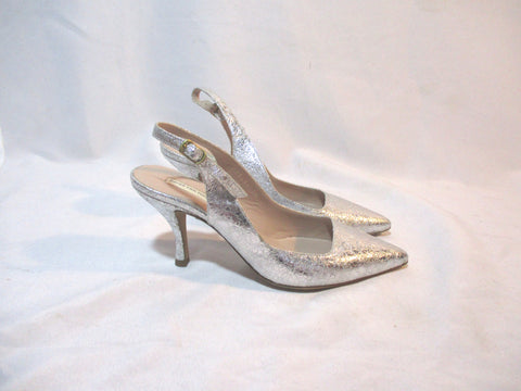 DRIES VAN NOTEN GLITTER Stiletto Pump Shoe SILVER 36 LEATHER High Heel Womens