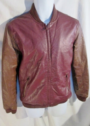 Mens FOREVER 21 MEN Faux Leather Vegan Jacket Riding Coat Bomber BROWN S RED