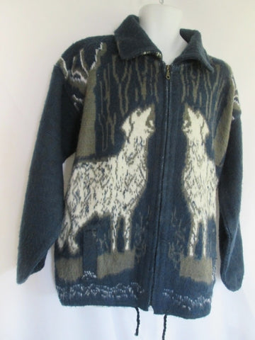 Mens RUMINAHUI Wool DOG WHITE WOLF Zip Up Sweater Jacket Cardigan Wool BLUE XL