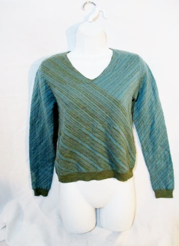 NEW Womens BANANA REPUBLIC V-Neck Sweater XS BLUE GREEN Merino Wool