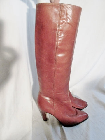 Womens GABOR Knee High Tall LEATHER RIDING GOGO BOOTS BROWN 7.5 Round Toe