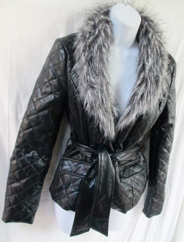 NEW Womens MANDEE Faux Fur Leather Vegan Jacket Coat BLACK S
