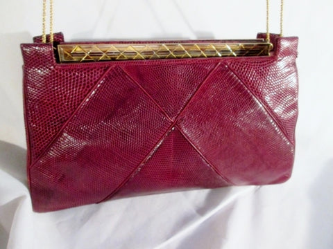 JUDITH LIEBER REPTILE LEATHER SKIN Satchel Shoulder Bag Crossbody RED BURGUNDY Vintage