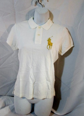 NEW RALPH LAUREN SKINNY POLO Embroidered RUGBY SHIRT Top S/P WHITE GOLD