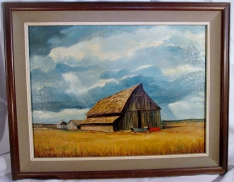 Vintage Antique SIGNED A. WATTS PAINTING FARM BARN SKY Cart ART Landscape Wood Frame