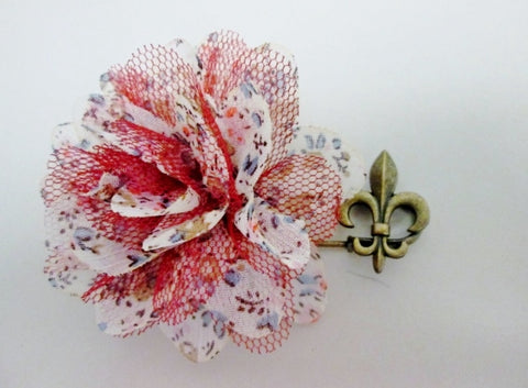 "2.5"" Brasstone FLEUR DE LIS FLOWER brooch pin cloth floral jewelry hippie boho"