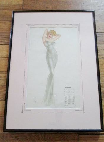 Vintage 1940s Alberto Vargas COVER GIRL Pinup Girl ART Print MISS NOVEMBER Pin-Up