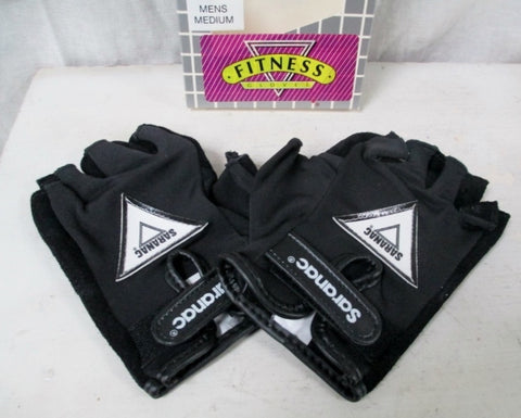 NEW Mens SARANAC Leather Workout Cycling Aerobics Fitness Gloves BLACK M