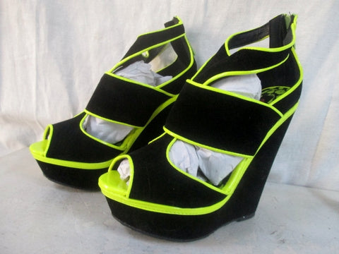 NEW Womens DOLLHOUSE Vegan Velvet Sandals High Heel 5.5 BLACK YELLOW