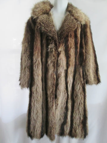 Vintage Womens Luxury Genuine RACCOON  Fur Long Maxi Coat Jacket S BROWN