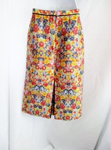 New NWT CELINE FRANCE Midi Skirt 36 4 FLORAL GOLD Womens