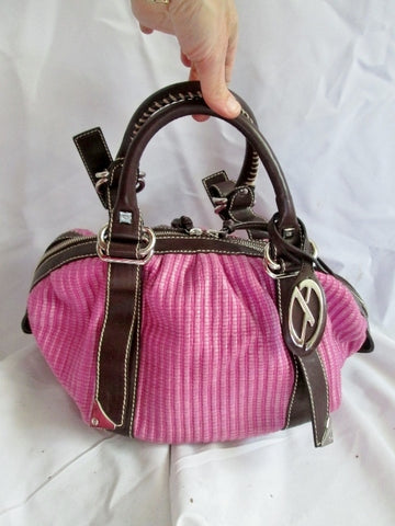 FRANCESCO BIASIA Woven Leather Handbag Shoulder Bag Satchel Hobo Boho PINK BROWN