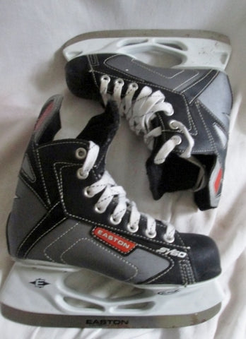 BOYS EASTON SY60 Performance Ice Hockey Skates Leather Sz 3 BLACK SILVER Winter