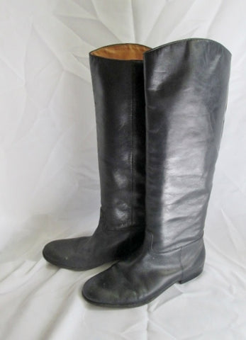 Womens FORTH & TOWNE Knee High LEATHER Moto RIDING BOOT BLACK 10 Shoe