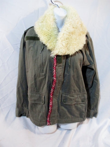 Womens RAGGED PRIEST Military Biker Jacket Coat Boho M/L OLIVE GREEN Sheepskin