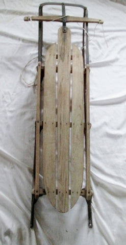 "Vintage Antique FLEXIBLE FLYER YANKEE CLIPPER 56"" Snow Sled Wood Winter USA Rustic Ride"