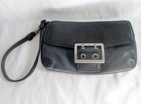 BANANA REPUBLIC LEATHER Wristlet Purse Wallet Clutch Pouch Sack BLACK