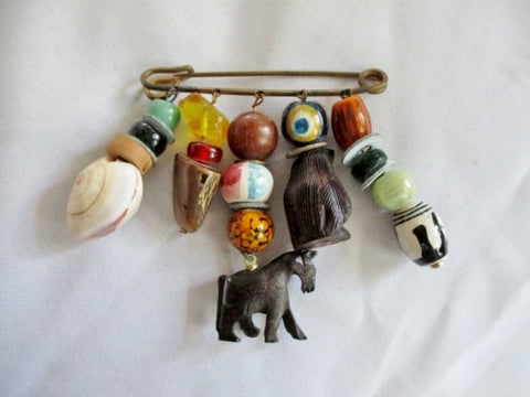 Handmade SAFETY PIN BROOCH Bead Art  PENGUIN BIRD HORSE COLORFUL
