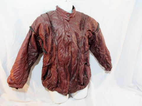 Mens RS DESIGNS FINLAND LEATHER jacket Moto Coat 38 BURGUNDY BROWN Floral