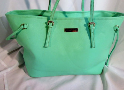 NEW YORK & COMPANY Shoulder Tote Bag Purse CARRYALL MINT GREEN AQUA BLUE L SEAFOAM
